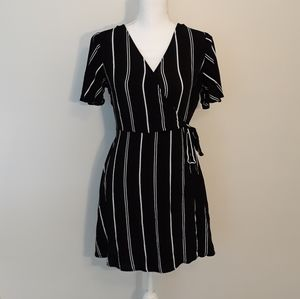 Xhiliration black striped faux wrap dress Medium